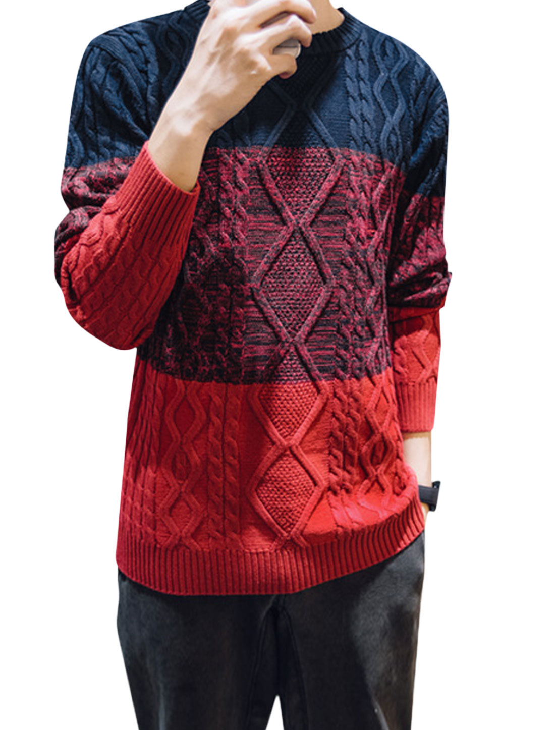 Men Long Sleeve Crew Neck Color Block Sweater Navy Blue Red M
