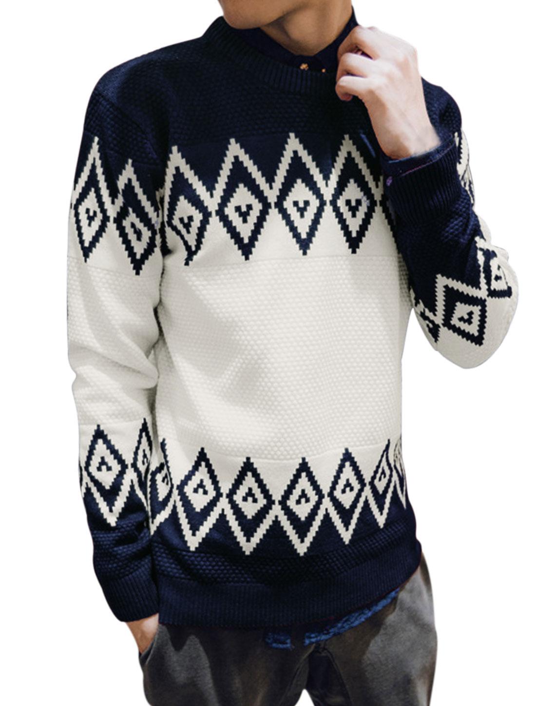 Men V Neck Argyle Print Slim Fit Knit Shirts Tops Navy Blue M