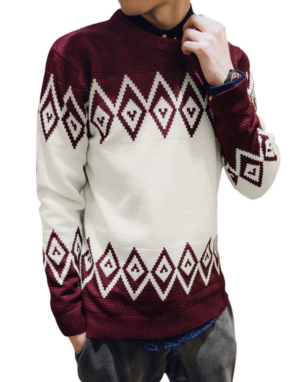 Men Long Sleeve V Neck Argyle Print Slim Fit Casual Knit Shirt Burgundy M