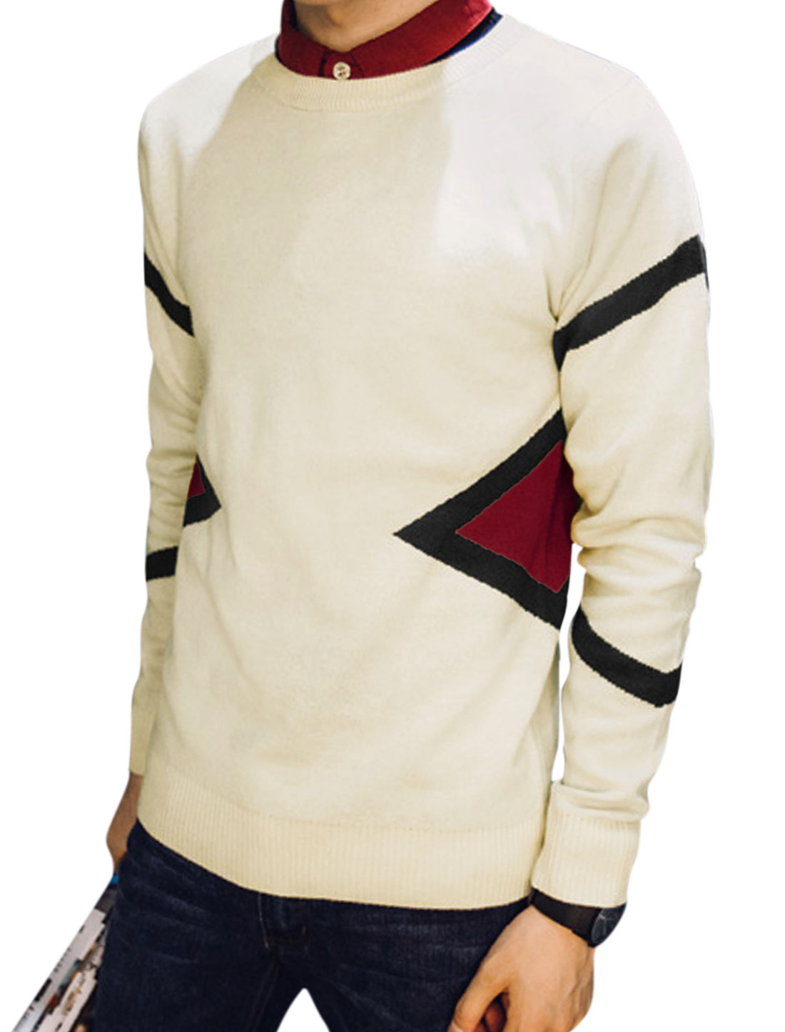 Men Long Sleeve Round Neck Slim Fit Knit Shirts Pullovers Beige M