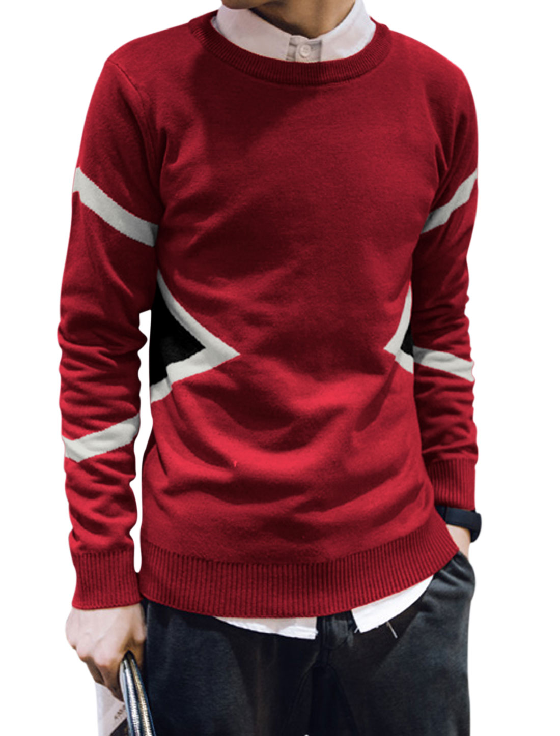 Men Long Sleeve Round Neck Pullovers Knit Shirts Red M