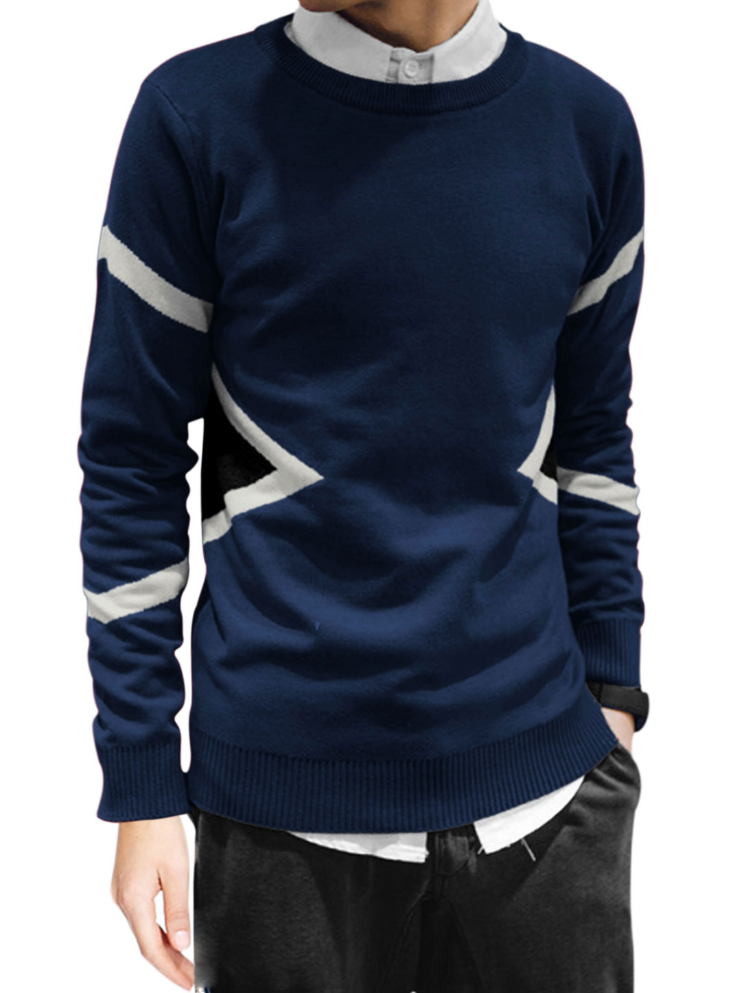 Men Long Sleeve Round Neck Slim Fit Casual Pullover Knit Shirt Navy Blue M
