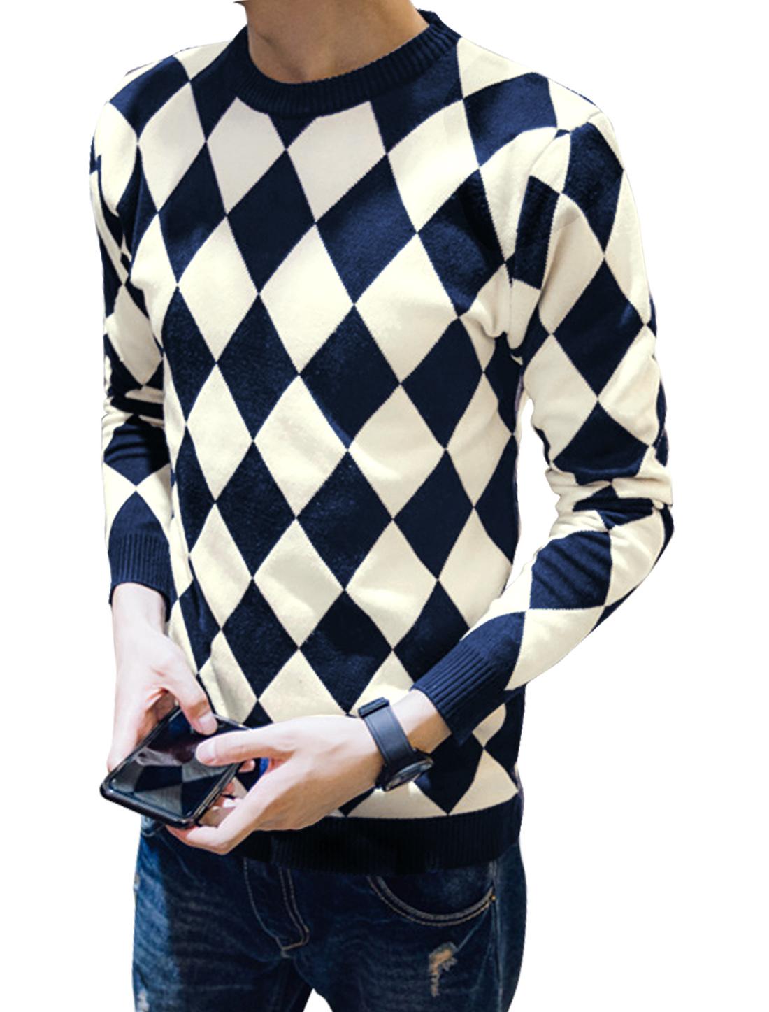 Men Crew Neck Argyle Pattern Knitting Shirt Navy Blue M