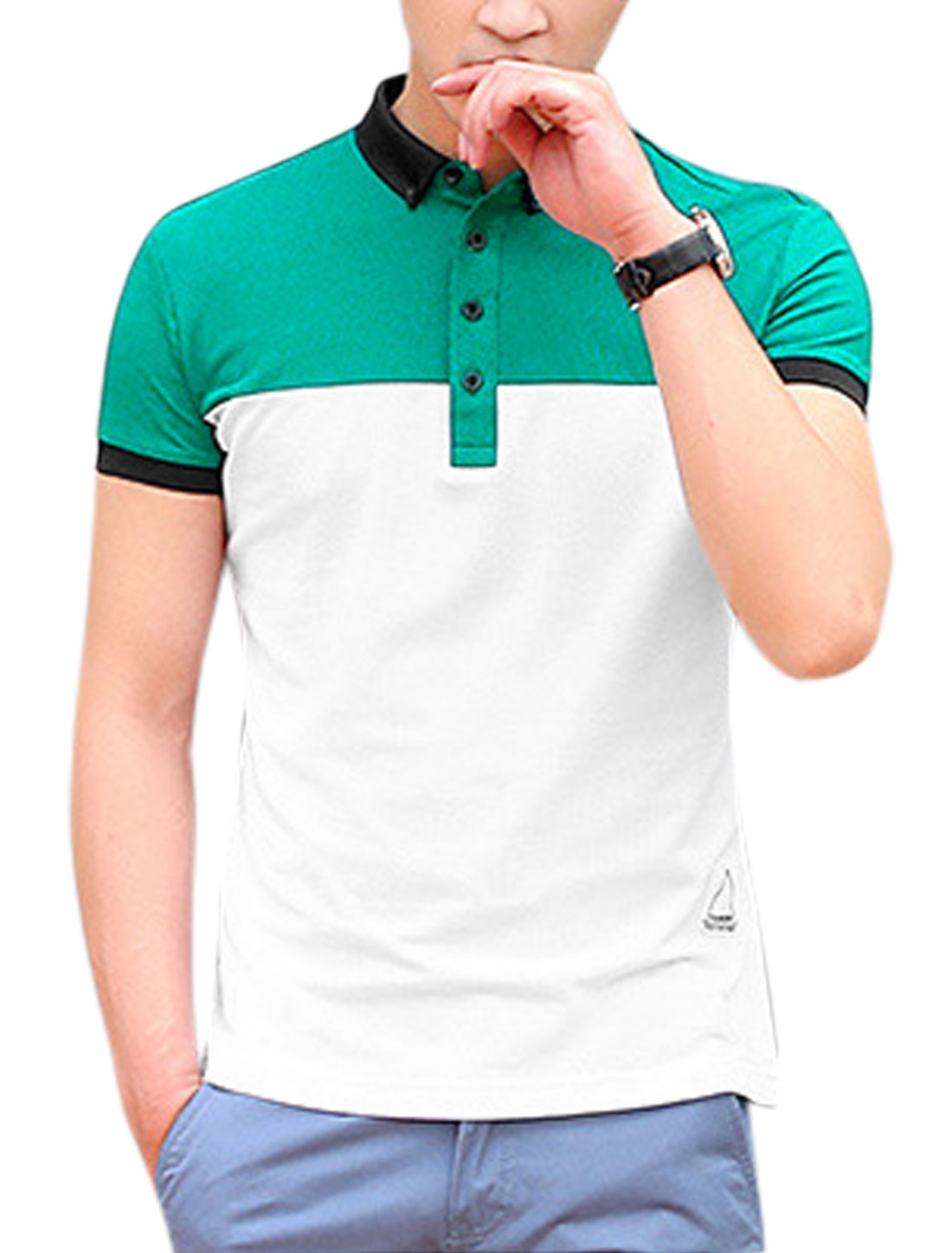 Men Short Sleeve Color Block Slim Fit Casual Polo T-Shirts White M