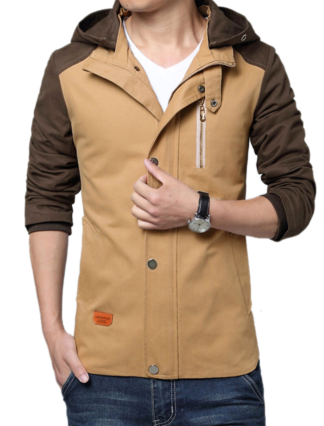 Men Zip Closure Color Block Casual Hooded Coat Khaki M