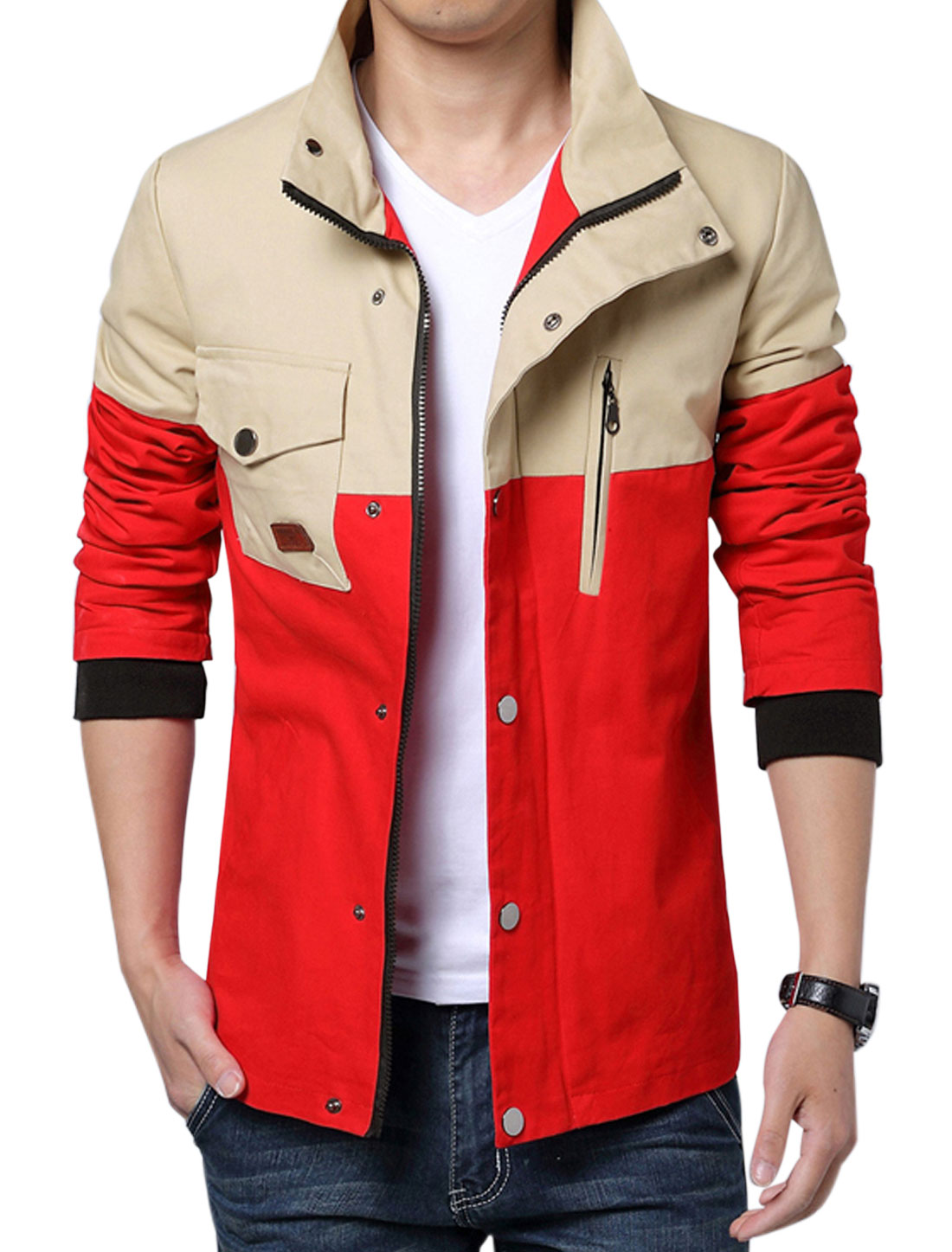 Men Long Sleeve Pockets Contrast Color Casual Coat Red M