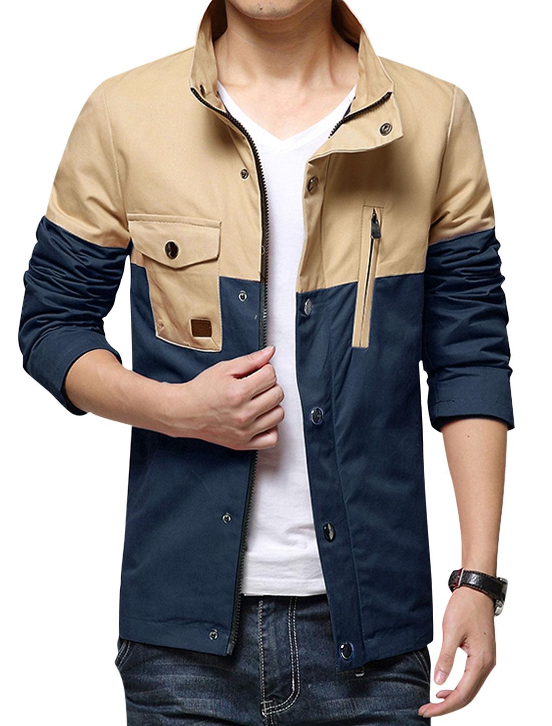 Men Single Breasted Slim Fit Casual Coat Navy Blue M