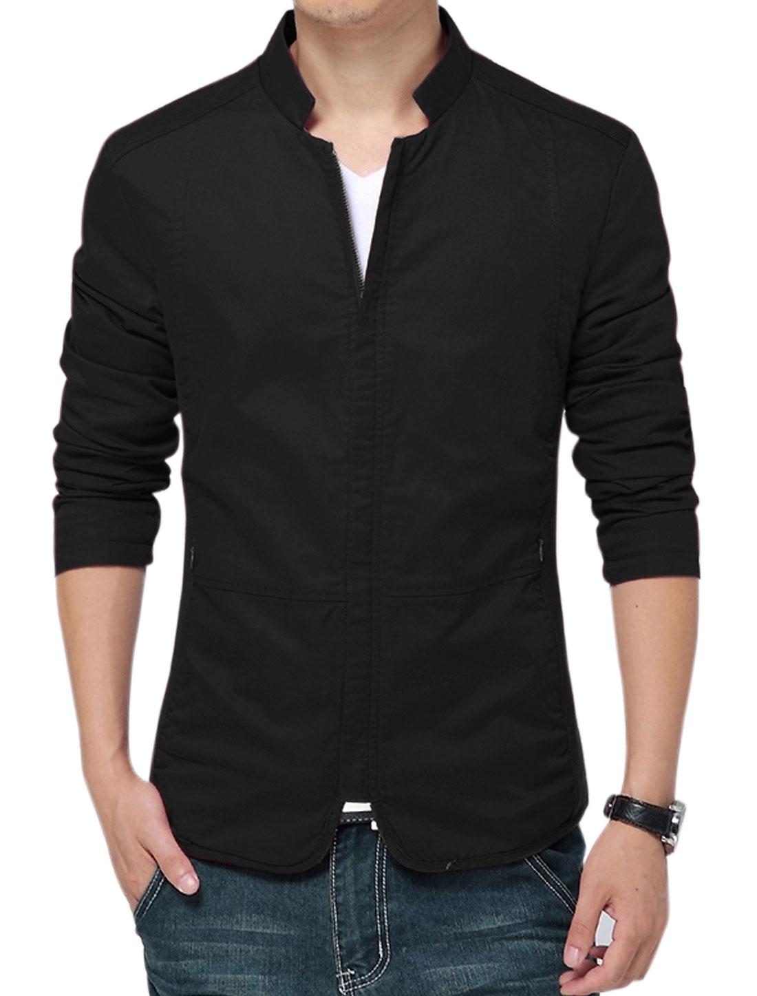 Men Stand Collar Zip Up Long Sleeve Casual Coat Black M