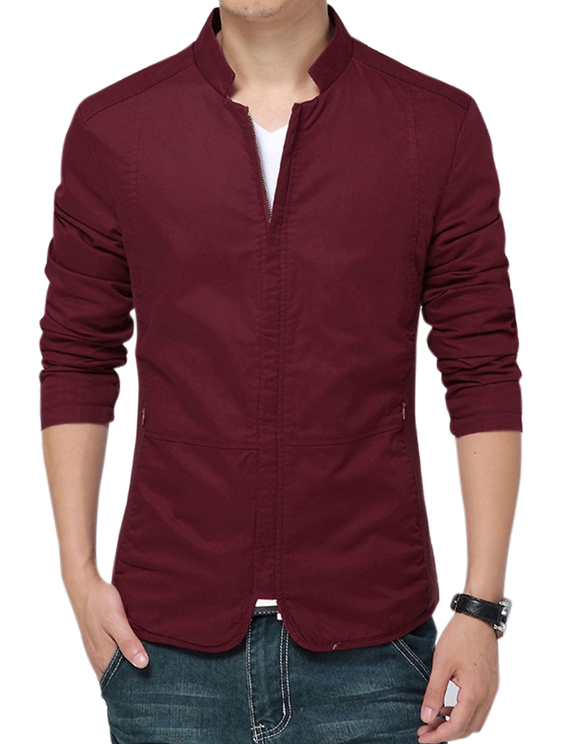 Men Zip Closure Long Sleeves Slim Fit Casual Coat Burgundy M