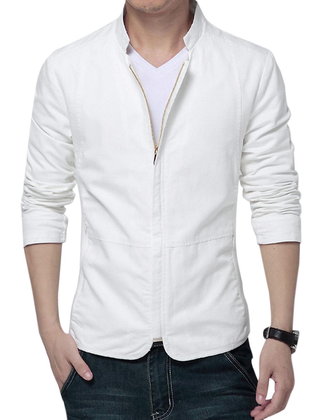 Men Standing Collar Panel Design Casual Coat White M