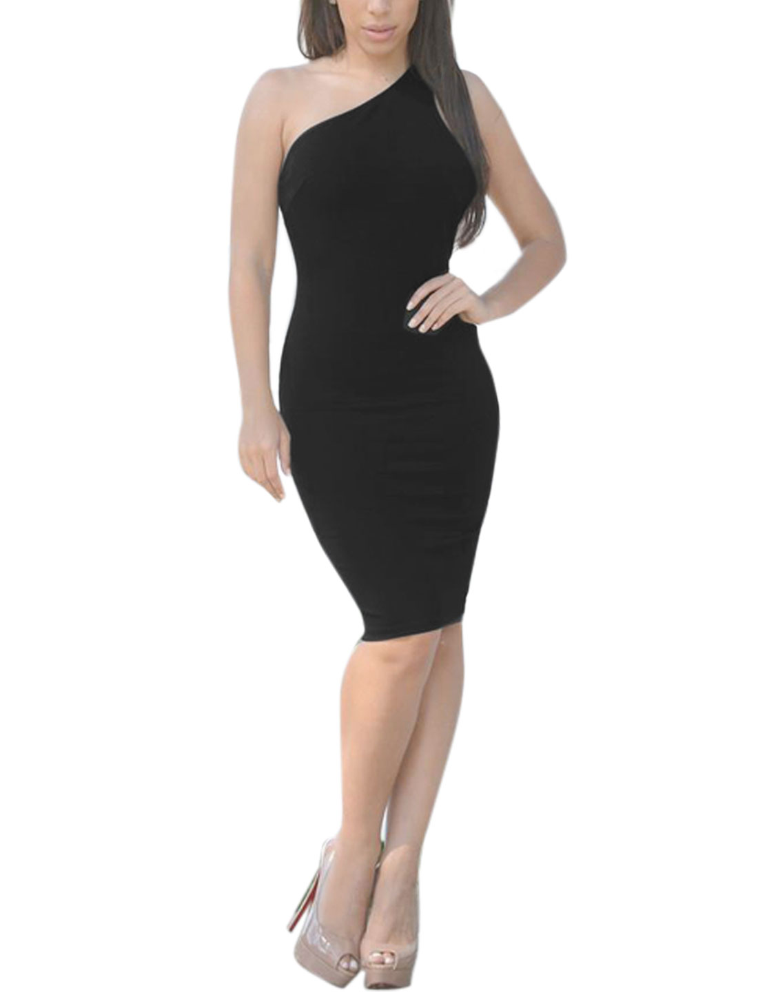 Women One Shoulder Open Back Knee Length Wiggle Dress Black L