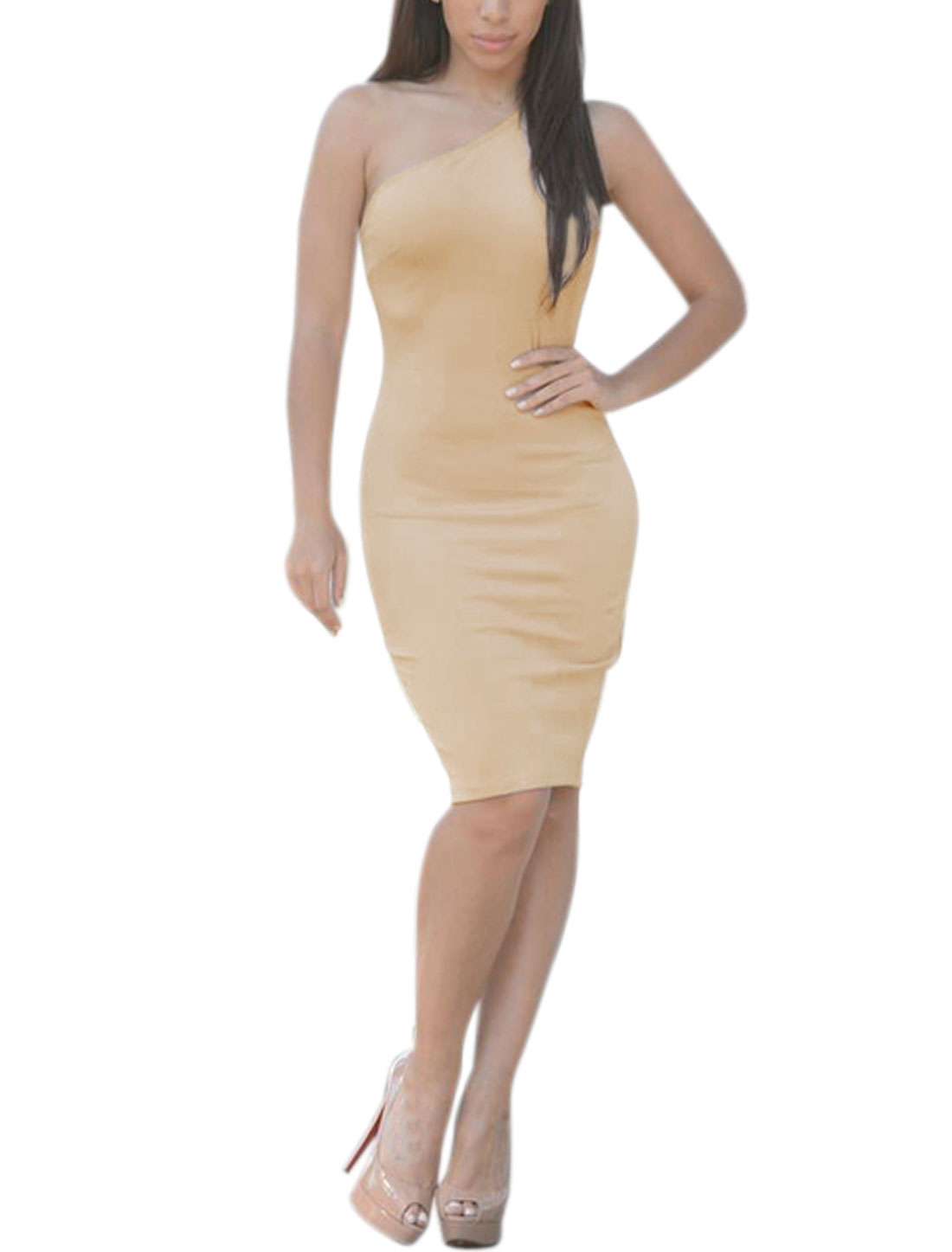 Women One Shoulder Sleeveless Skinny Dress Beige L