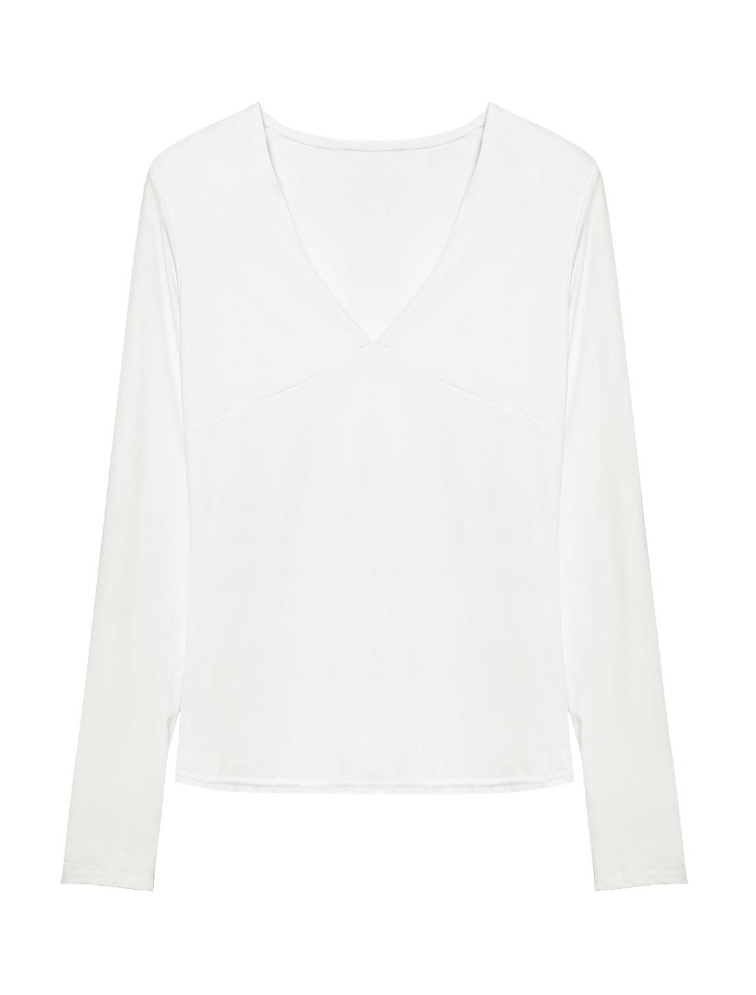 Women Deep V Neck Long Sleeves Stretchy Slim Fit Shirt White S