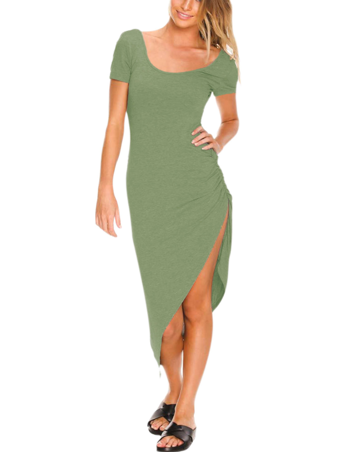 Women Open Back Asymmetrical Hem Slim Fit Sheath Dress Moss M