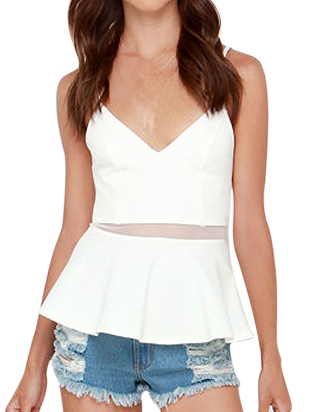 Women Deep V Neck Spaghetti Strap Mesh Panel Detail Peplum Top White S