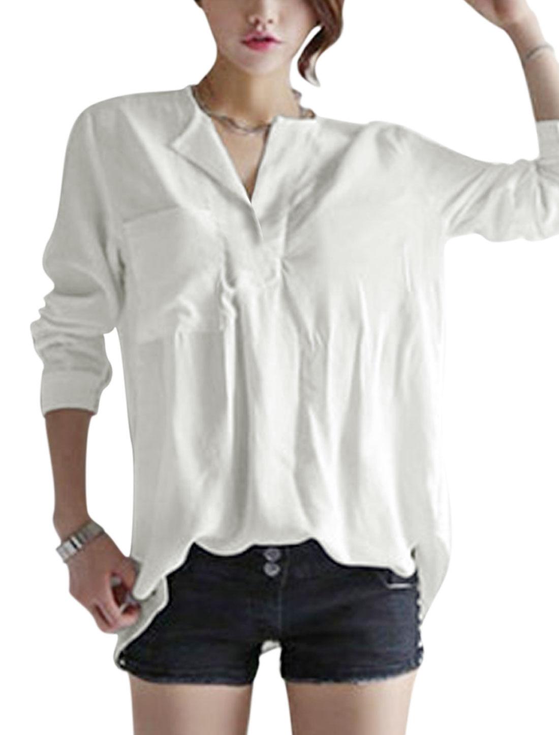 Women Split Neck Chest Pocket Front Low High Hem Shirt White S