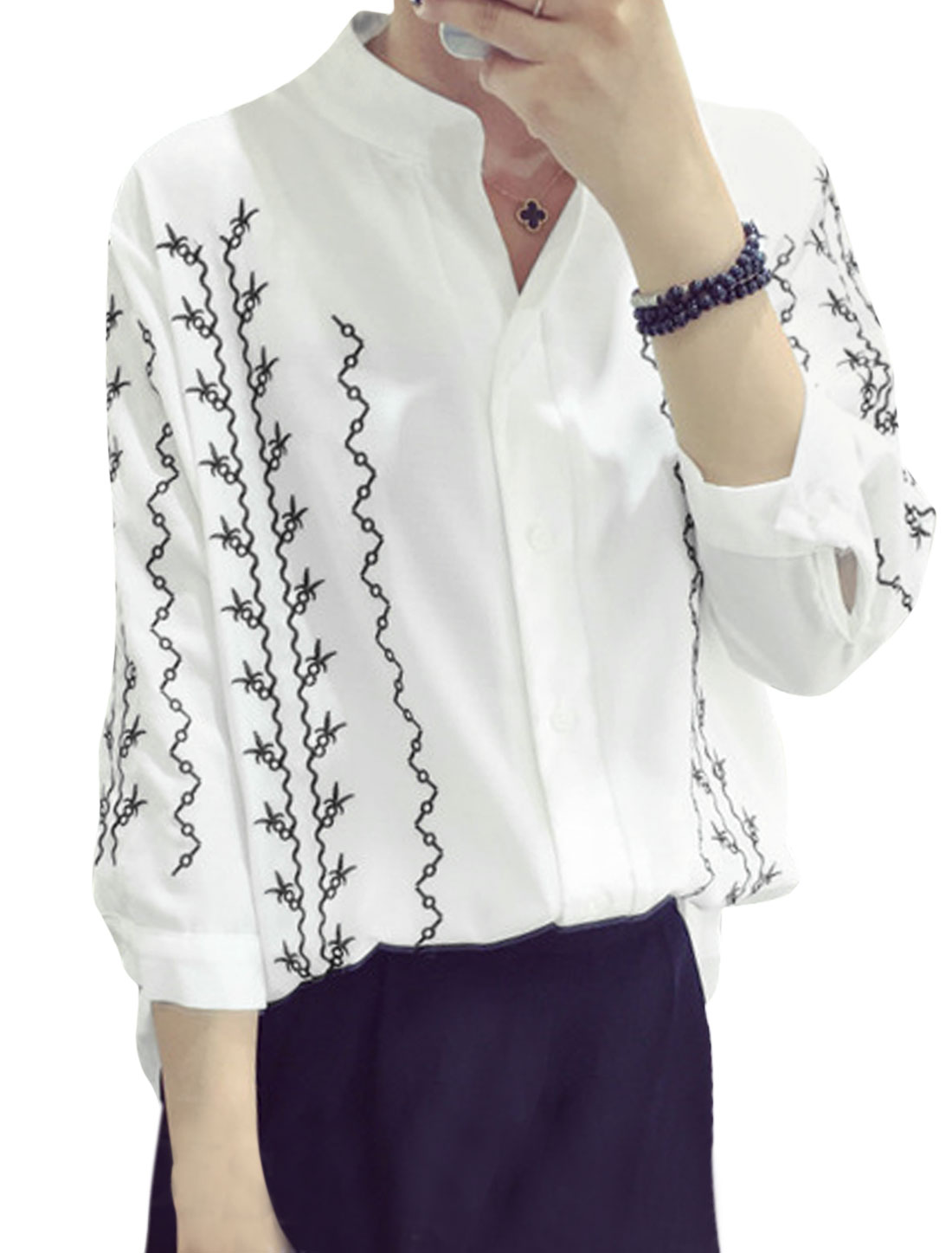 Women Stand Collar 3/4 Sleeve Novelty Embroidery Casual Shirt White S