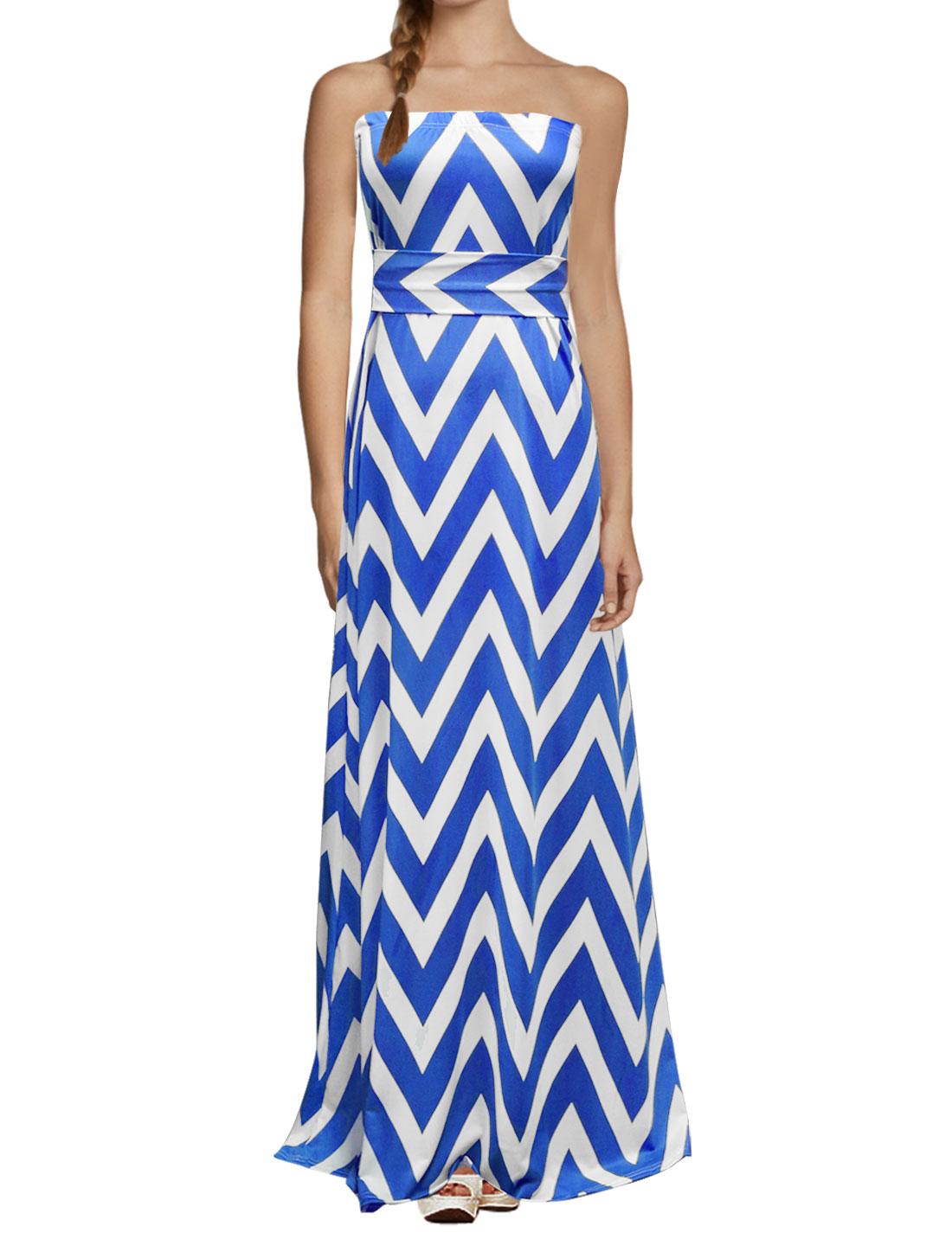 Women Elastic Bust Zig-Zag Pattern Maxi Dress Blue L
