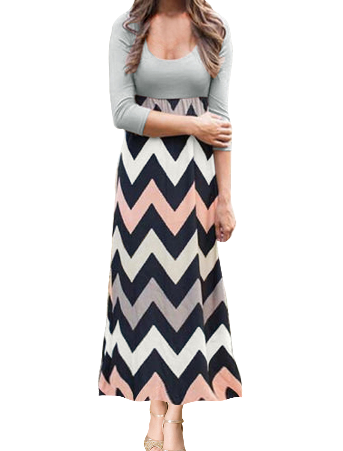 Woman Zig Zag Pattern Scoop Neck Long Sleeves Unlined Maxi Dress Black White L