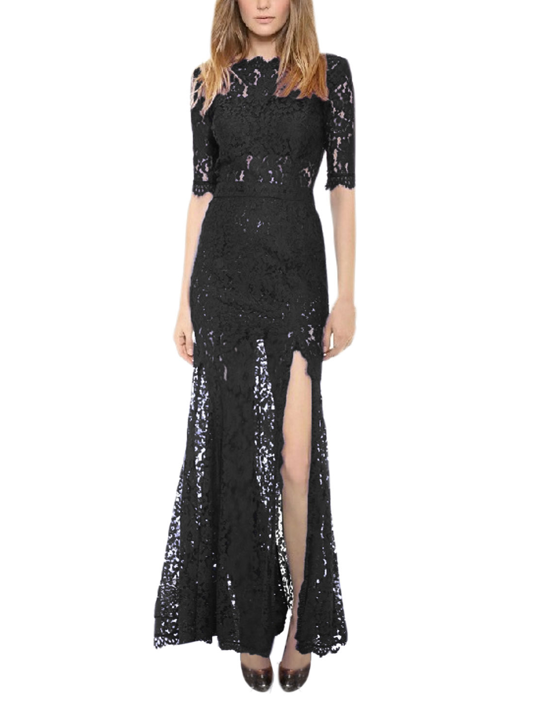 Woman Half Sleeve Side Split Backless Lace Maxi Dress Black M