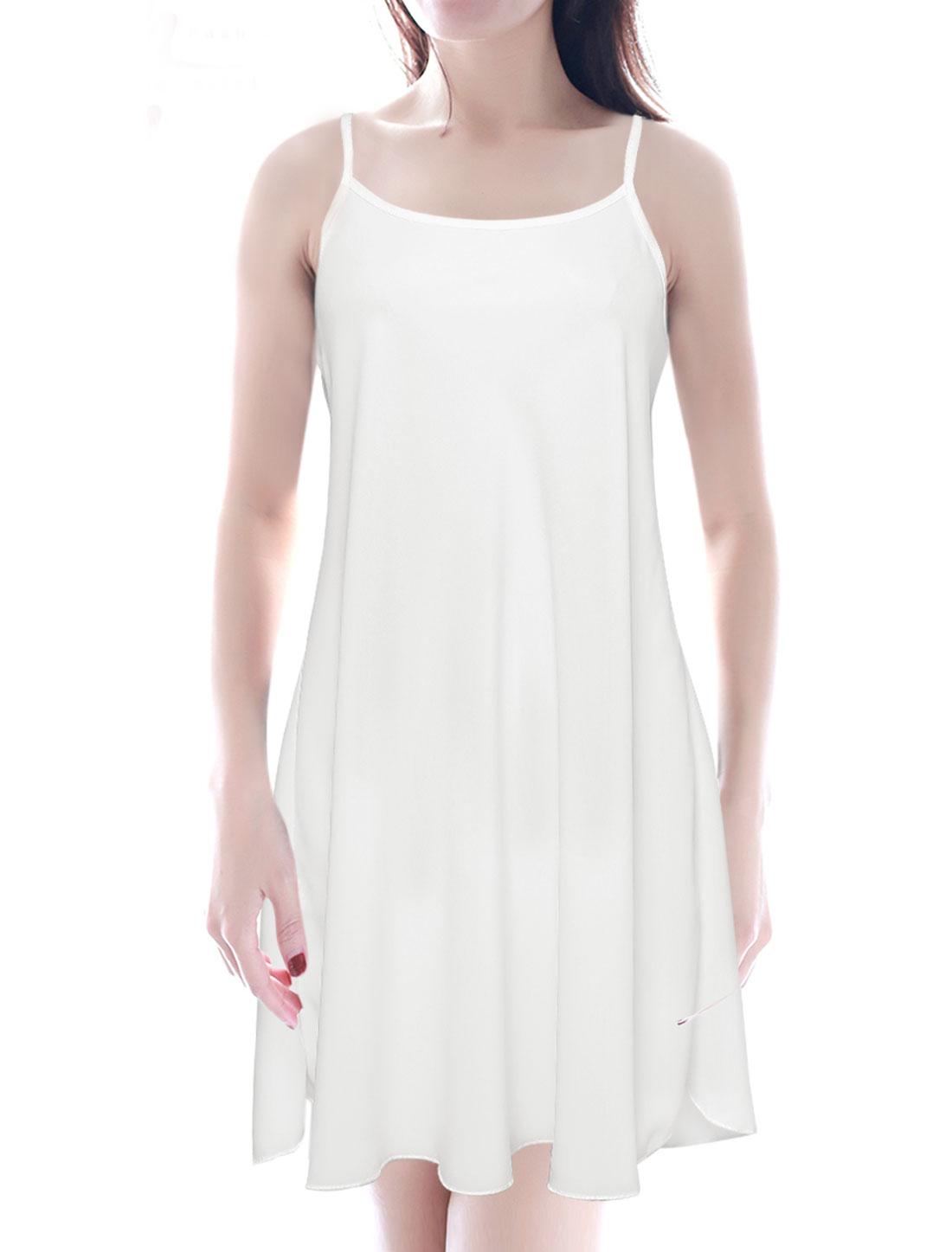 Ladies Spaghetti Strap U Neck Loose Fit Casual Dresses White S