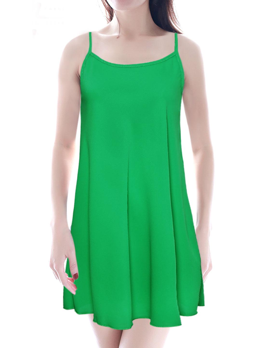 Ladies Spaghetti Strap U Neck Tunic Dress Green S