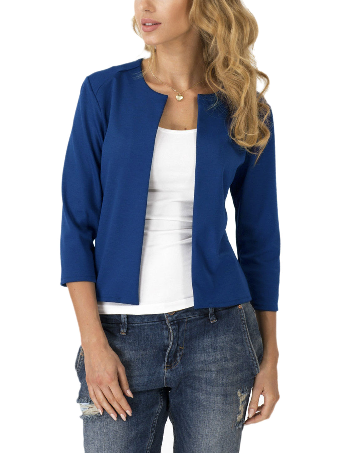 Women Three Quarter Sleeve Open Front Slim Fit Cardigan Royal Blue S