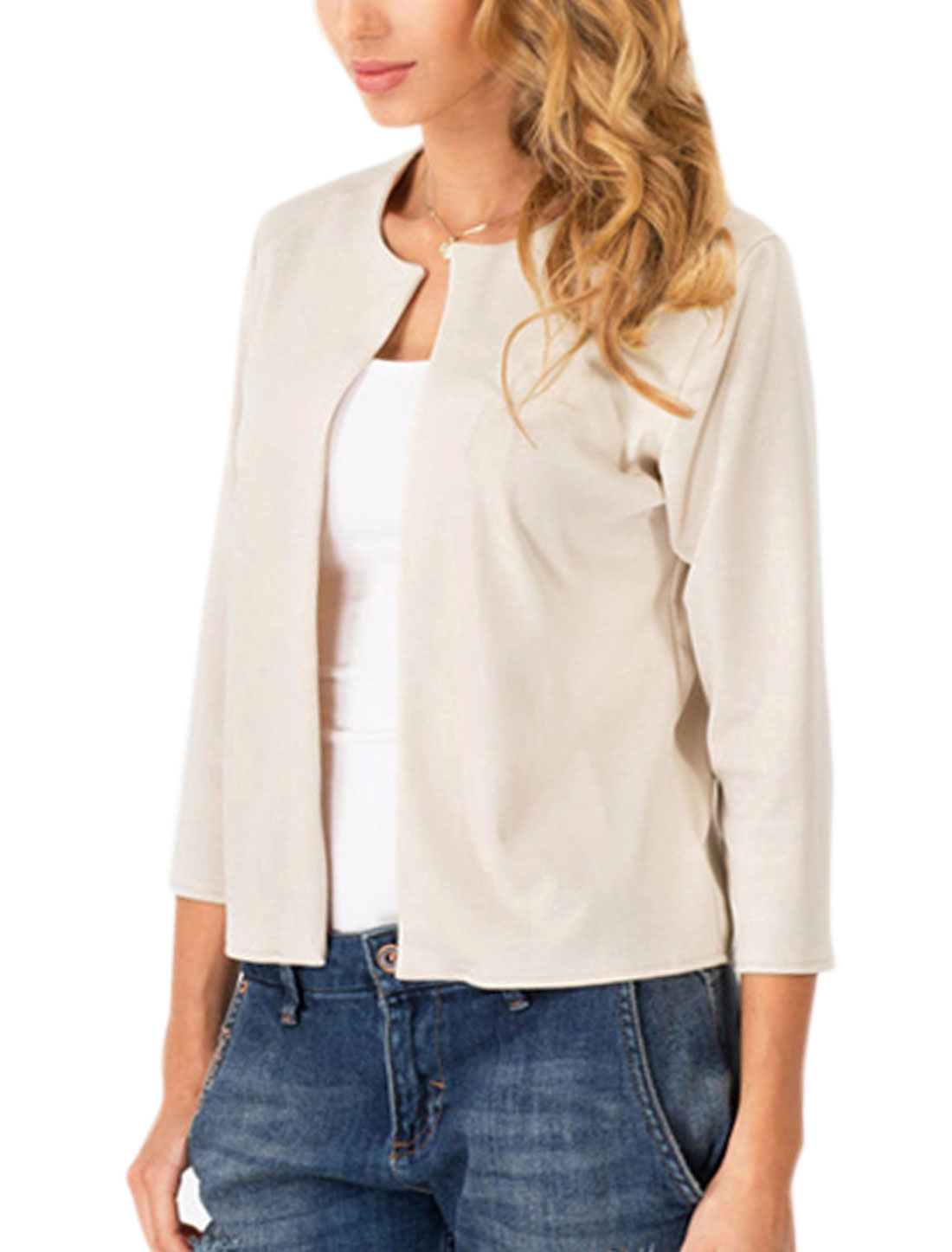 Women 3/4 Sleeve Round Neck Buttonless Leisure Cardigan Off White S