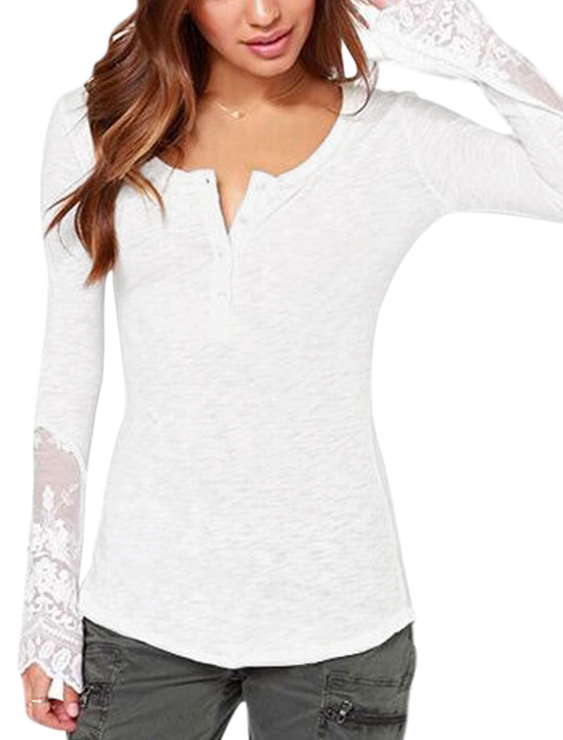 Women Y Neck Long Sleeves Lace Panel Casual Shirt White S