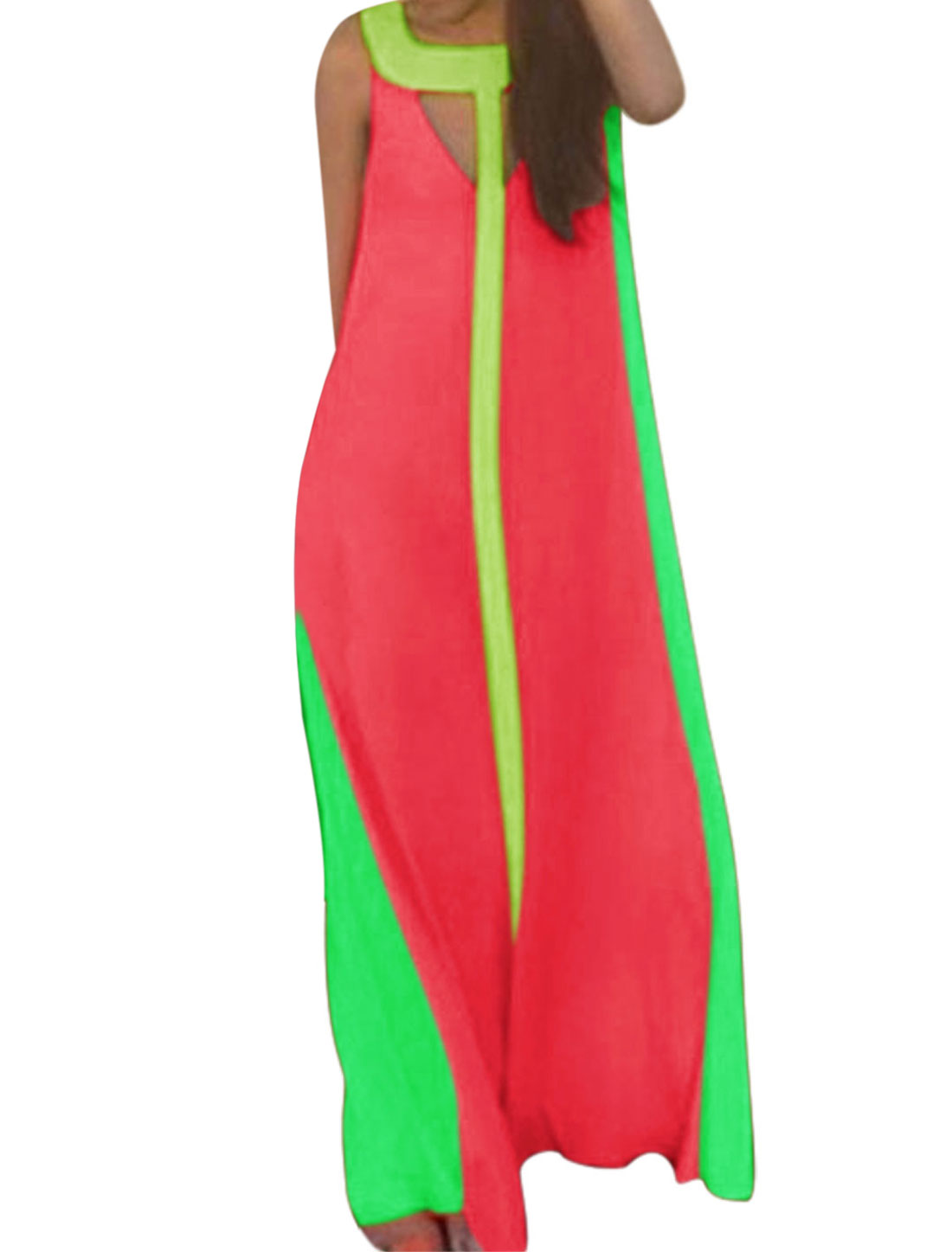 Woman Color Blocking Sleeveless Cutout Maxi Dress Fuchsia S