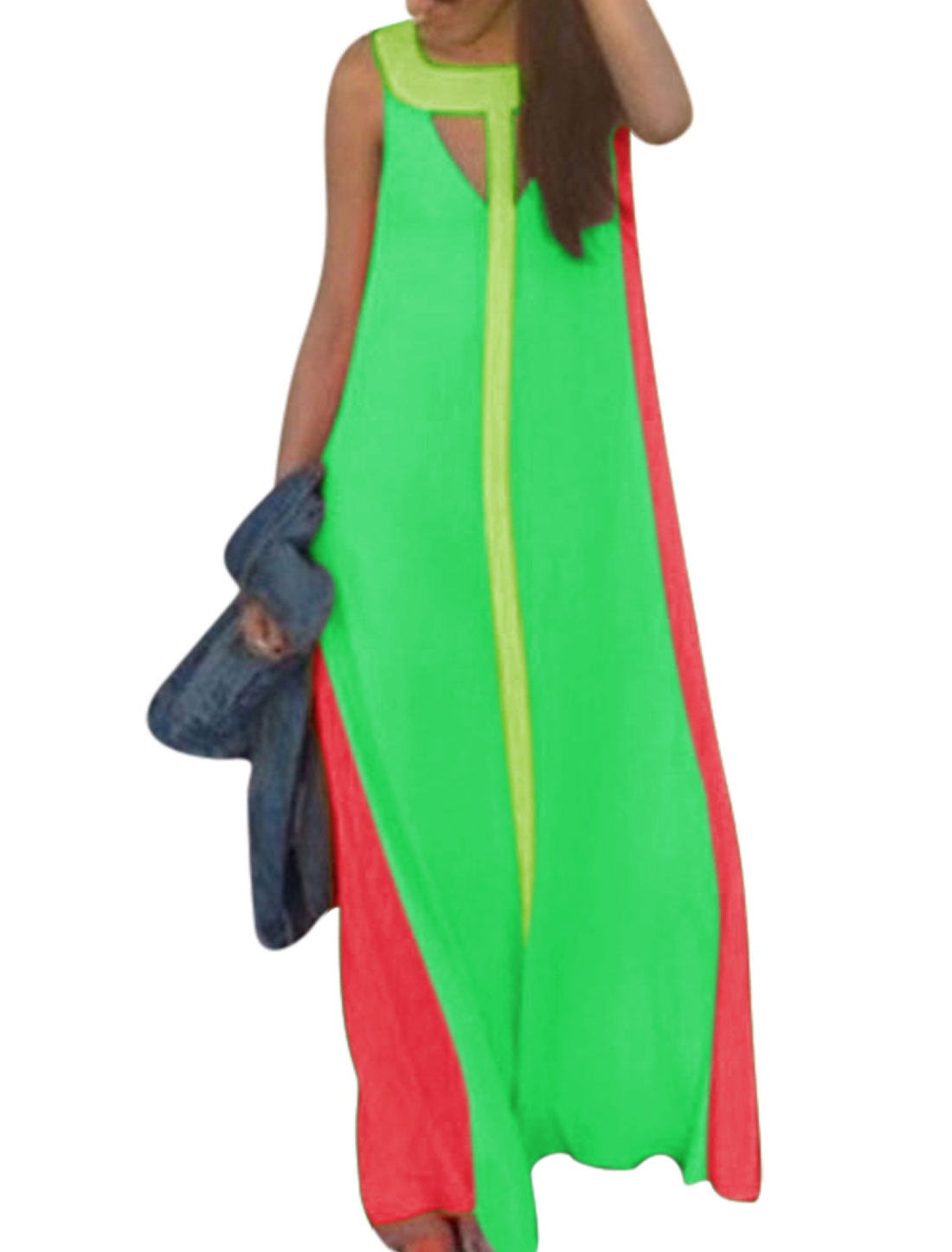 Woman Sleeveless Color Blocking Casual Maxi Dress Apple Green S