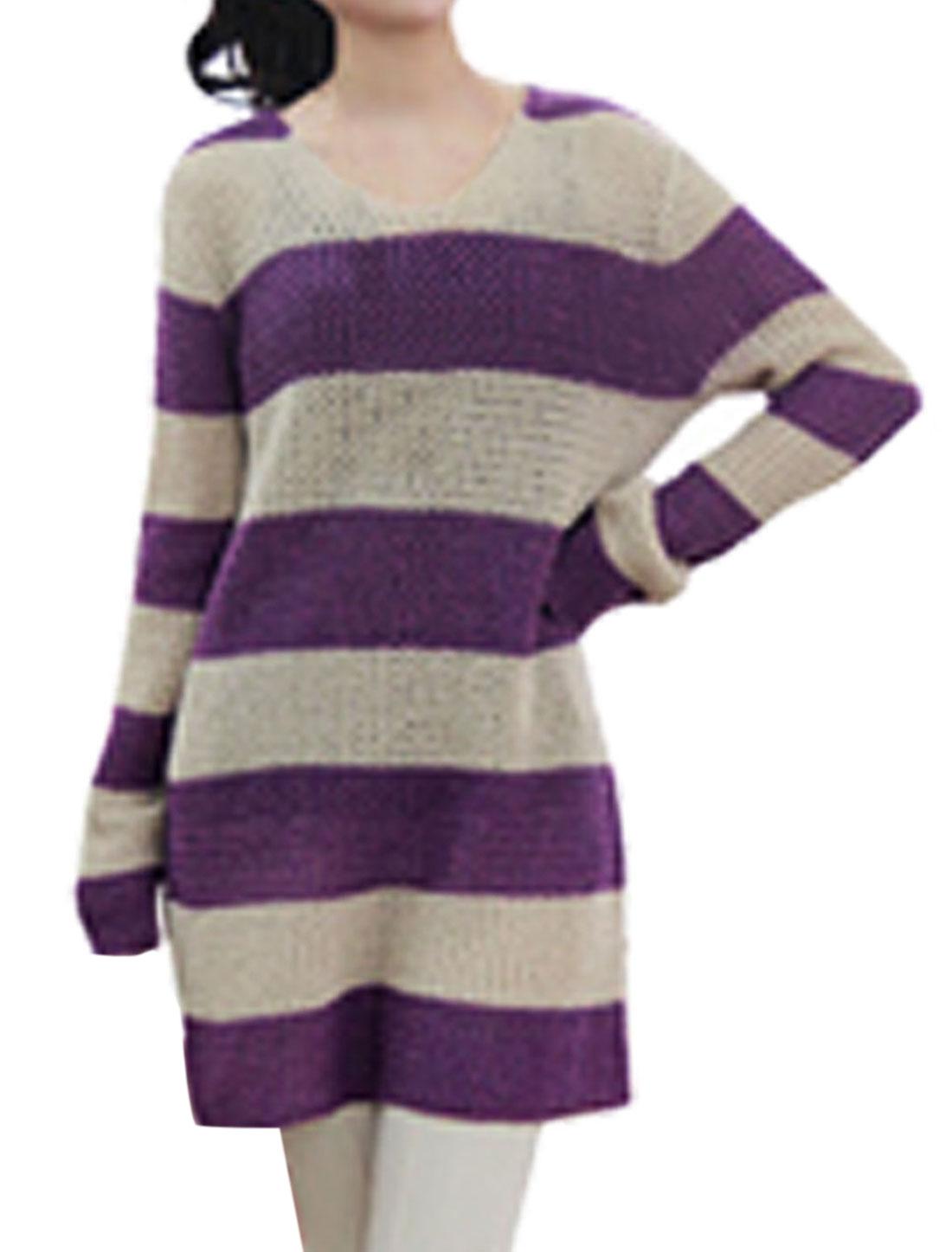 Woman Scoop Neck Horizontal Stripe Long Sleeve Casual Sweater Purple XS