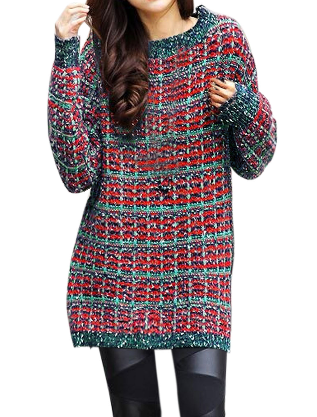 Woman Scoop Neck Long Sleeves Plaids Pattern Tunic Sweater Red S