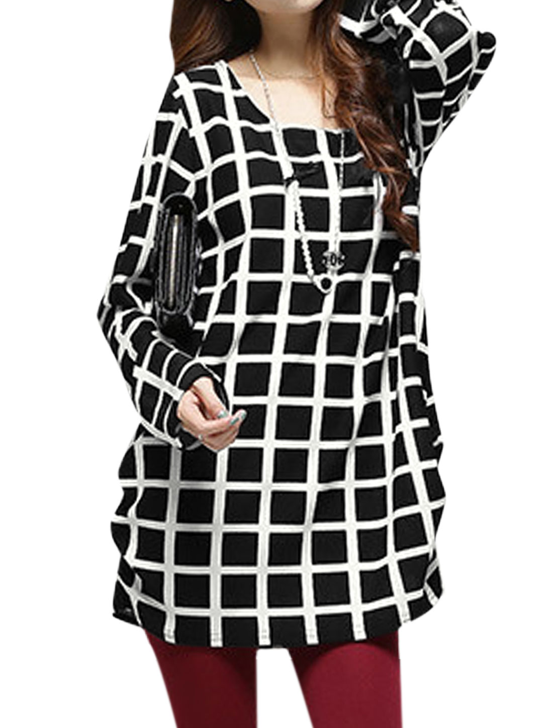 Women Scoop Neck Long Sleeve Pullover Plaids Tunic Knit Tops Black XS