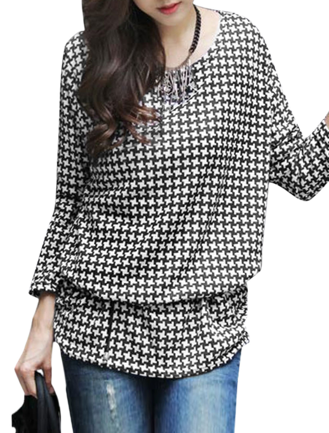 Women Long Sleeve Houndstooth Pattern Tunic Knit Top Black White XS