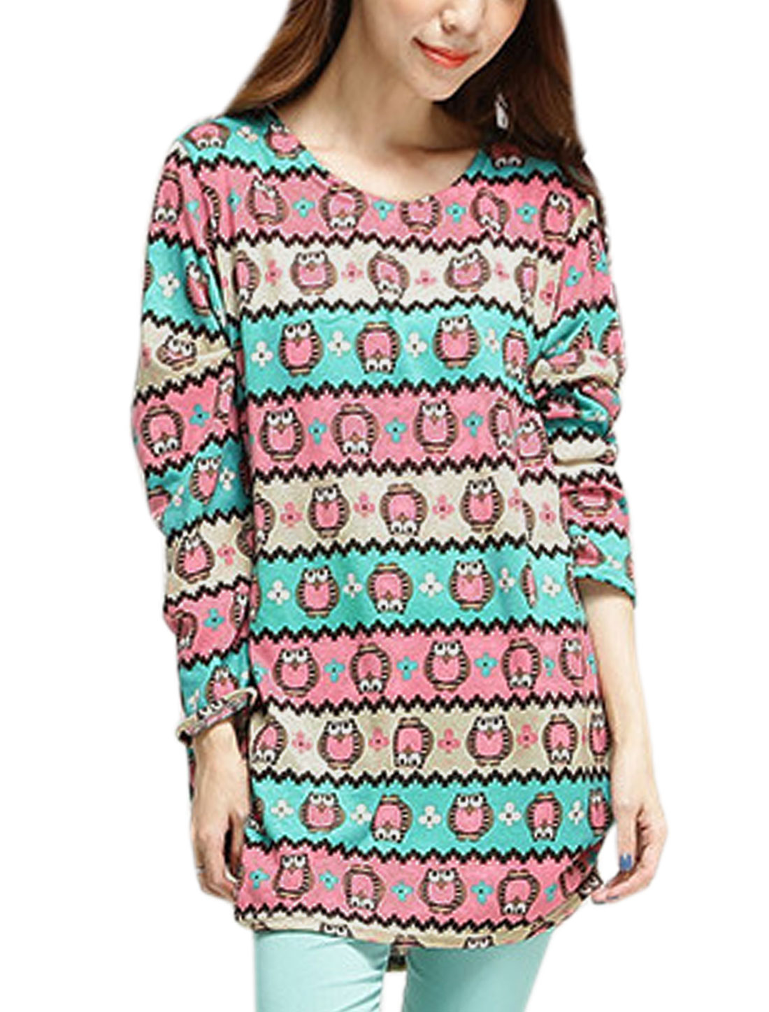 Women Scoop Neck Owl Stripes Prints Knitted Tops Green Pink XS