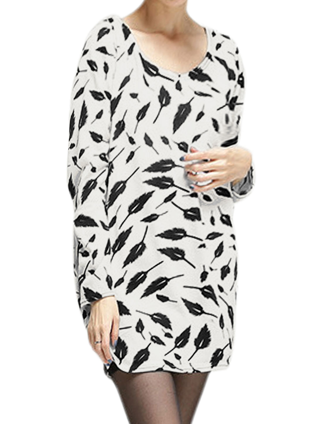 Women Long Sleeve Feather Pattern Pullover Knitted Tunic Top White XS