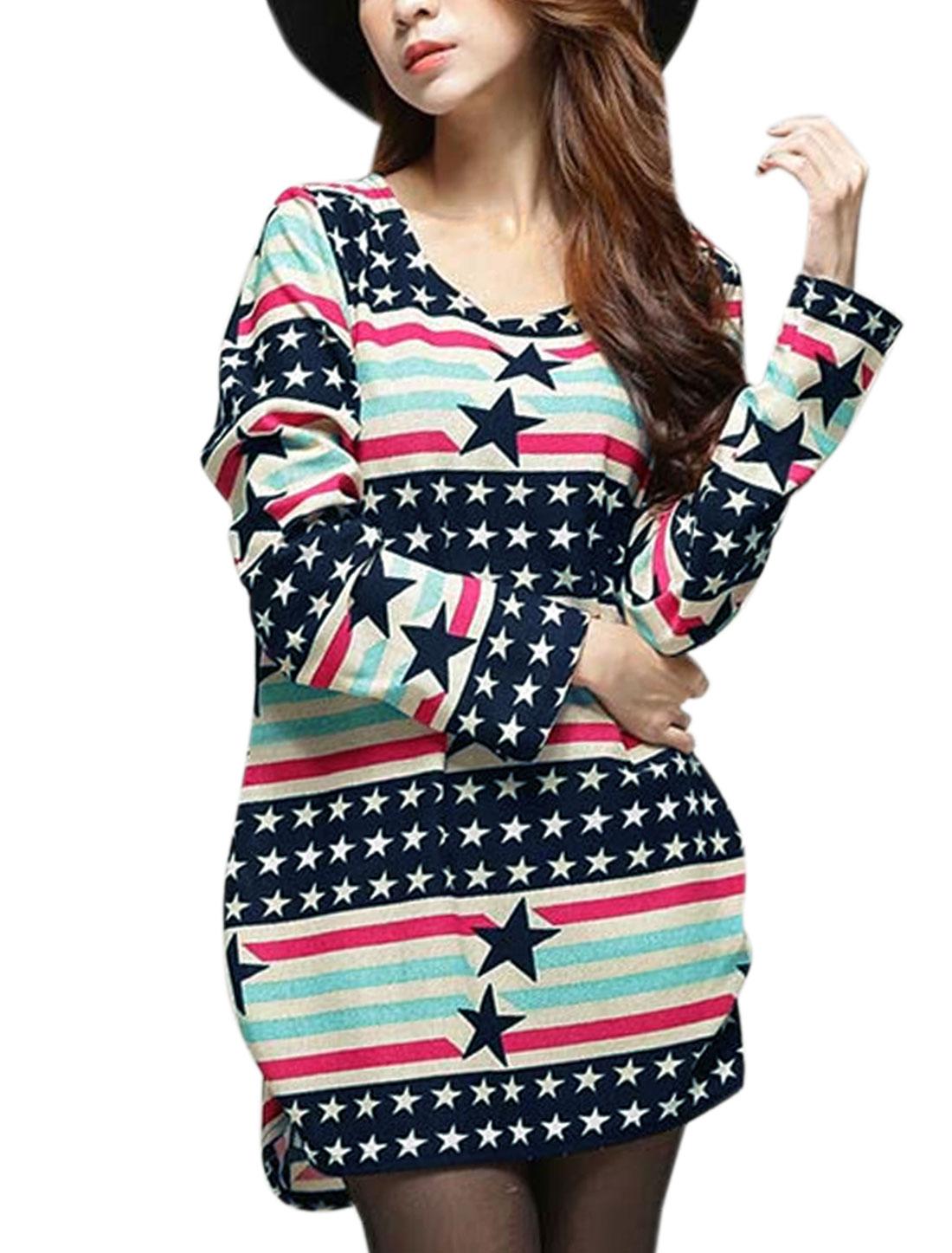 Women Long Sleeve Stripes Stars Pullover Tunic Knitwear Navy Blue XS