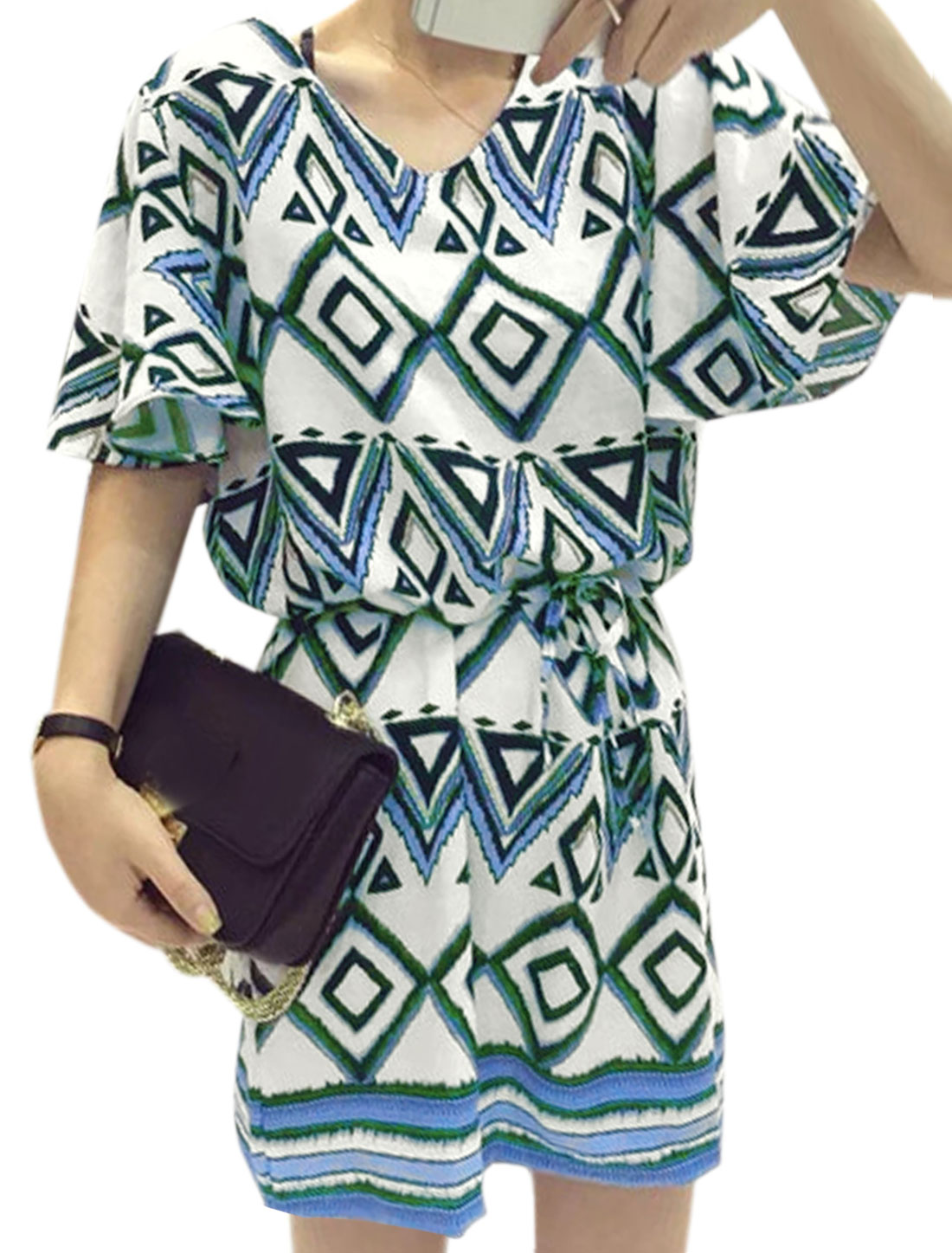 Women Butterfly Sleeve Geommetric Pattern Belted Retro Dress Blue XS