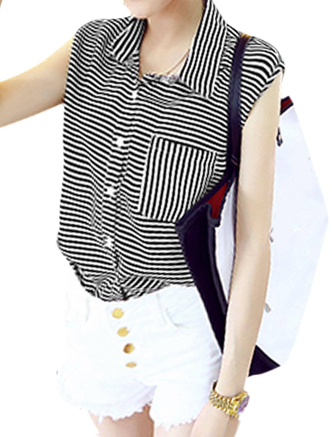 Ladies Point Collar One Pocket Button Closure Striped Shirt Black White XS