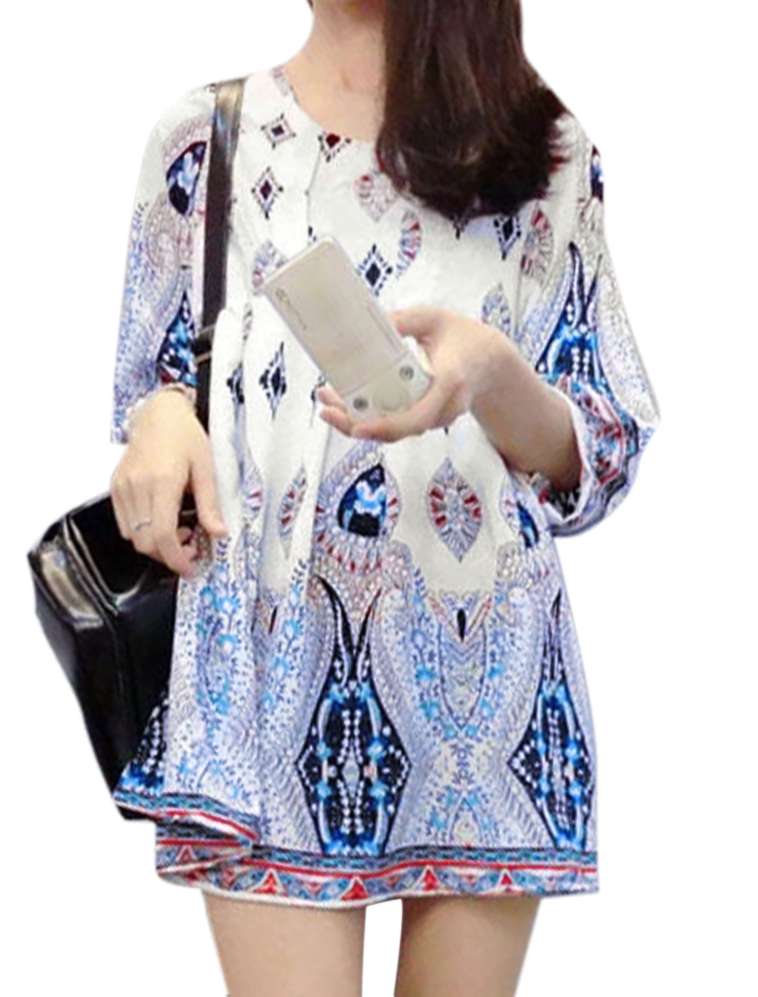 Women 3/4 Sleeve Floral Novelty Prints Casual Tunic Dress White XS