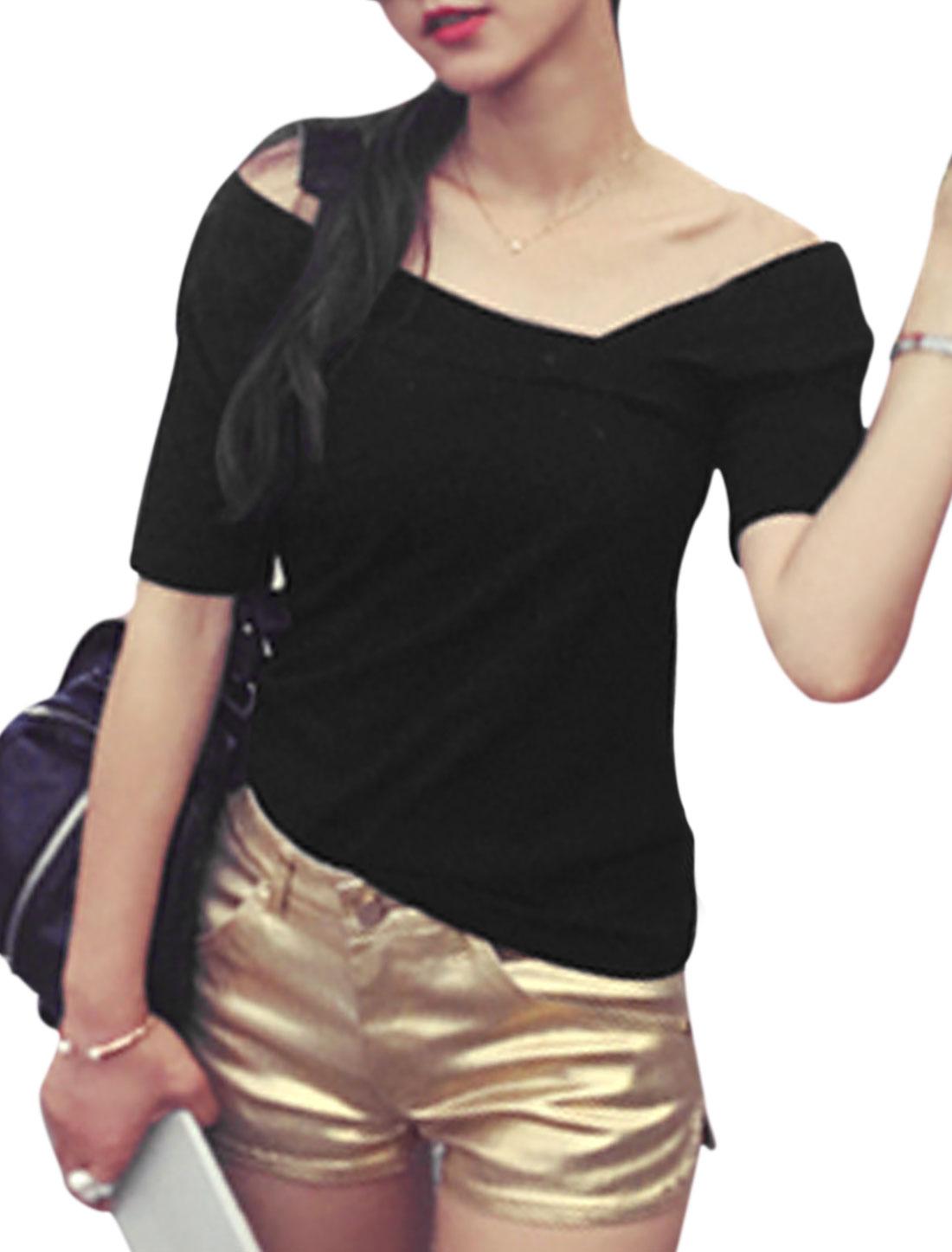 Women Irregular Neckline Short Sleeves Slim Fit Top Black XS