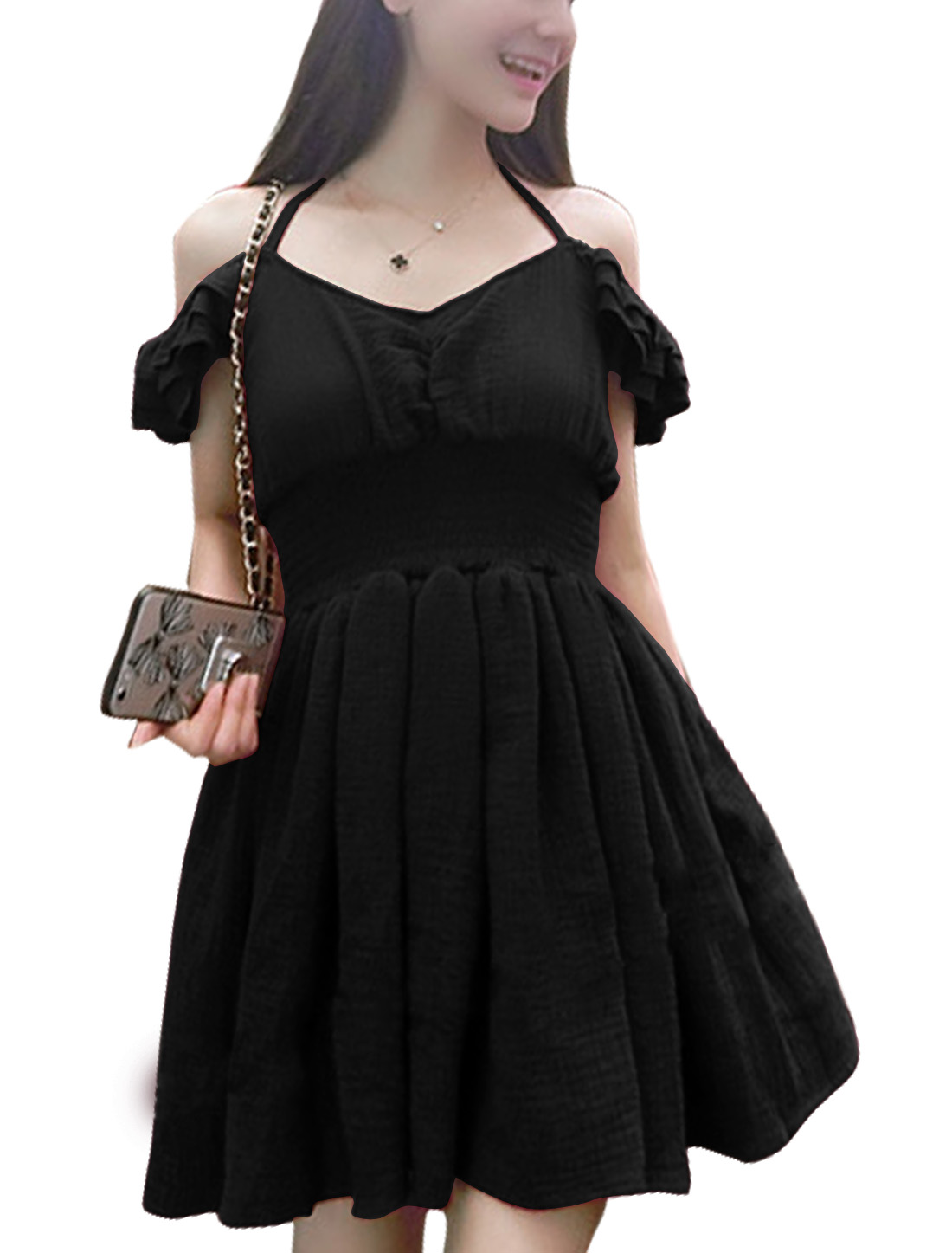 Women Cap Sleeve Pleated Smocked Waist Mini Leisure Dress Black S