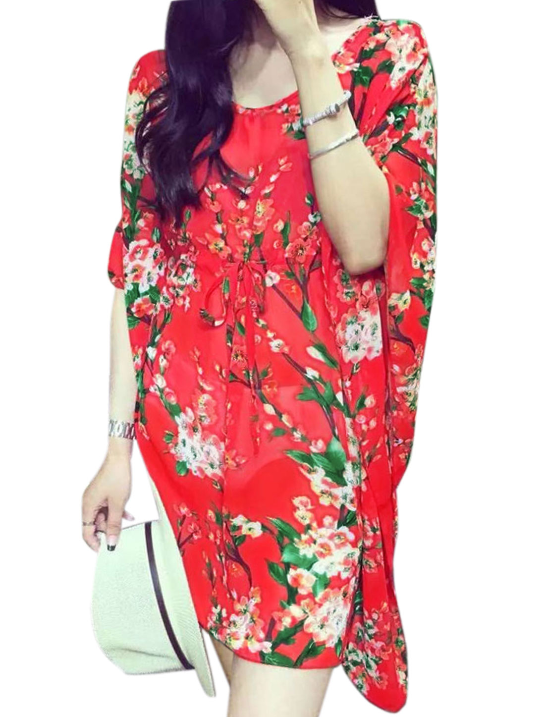 Woman Floral Prints Half Butterfly Sleeves Chiffon Tunic Top Red XS
