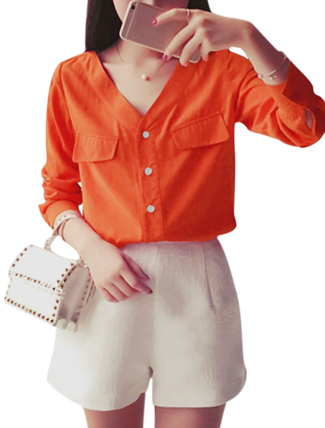 Women Long Sleeve V Neck Button Down Casual Shirts Orange S