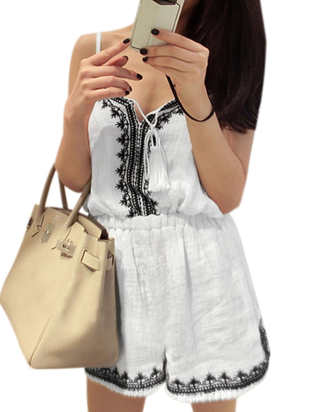 Women Novelty Embroidery Sleeveless Spaghetti Straps Romper White XS