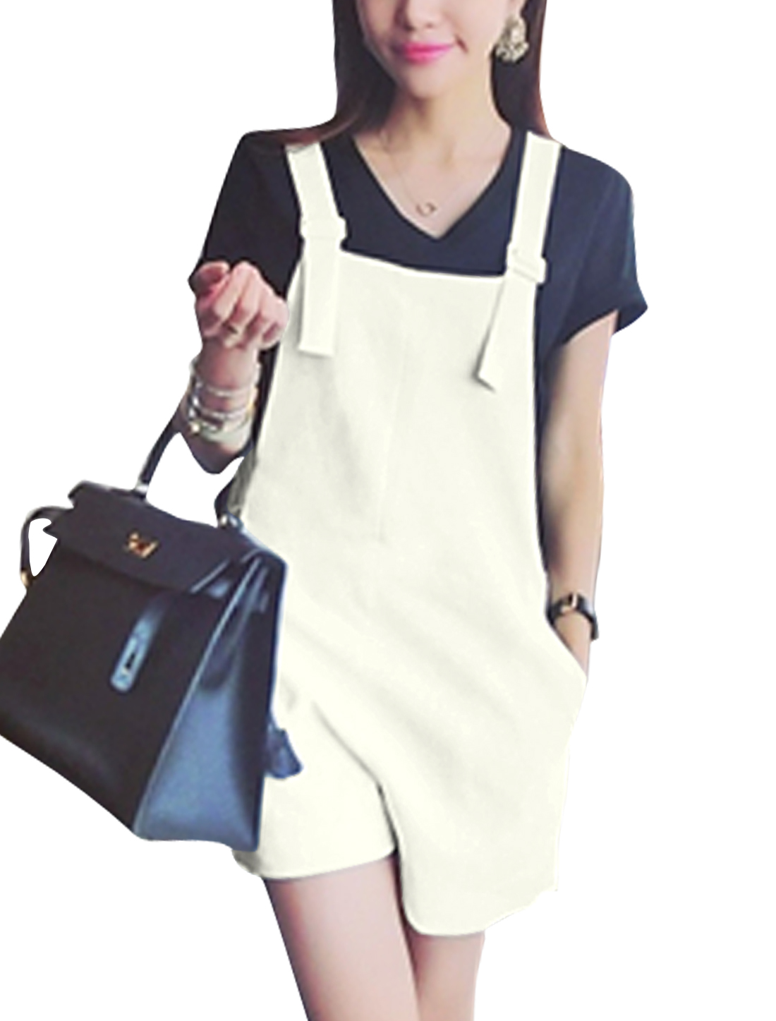 Women Adjustable Buckled Straps Casual Suspender Shorts White S