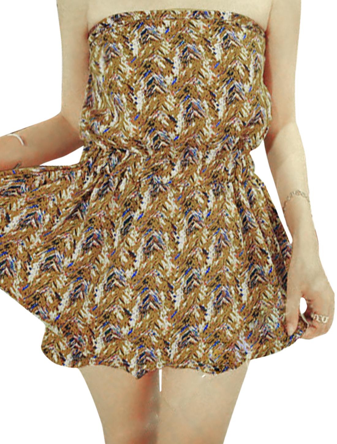 Women Strapless Elastic Waist Novelty Prints Casual Romper Ochre XS