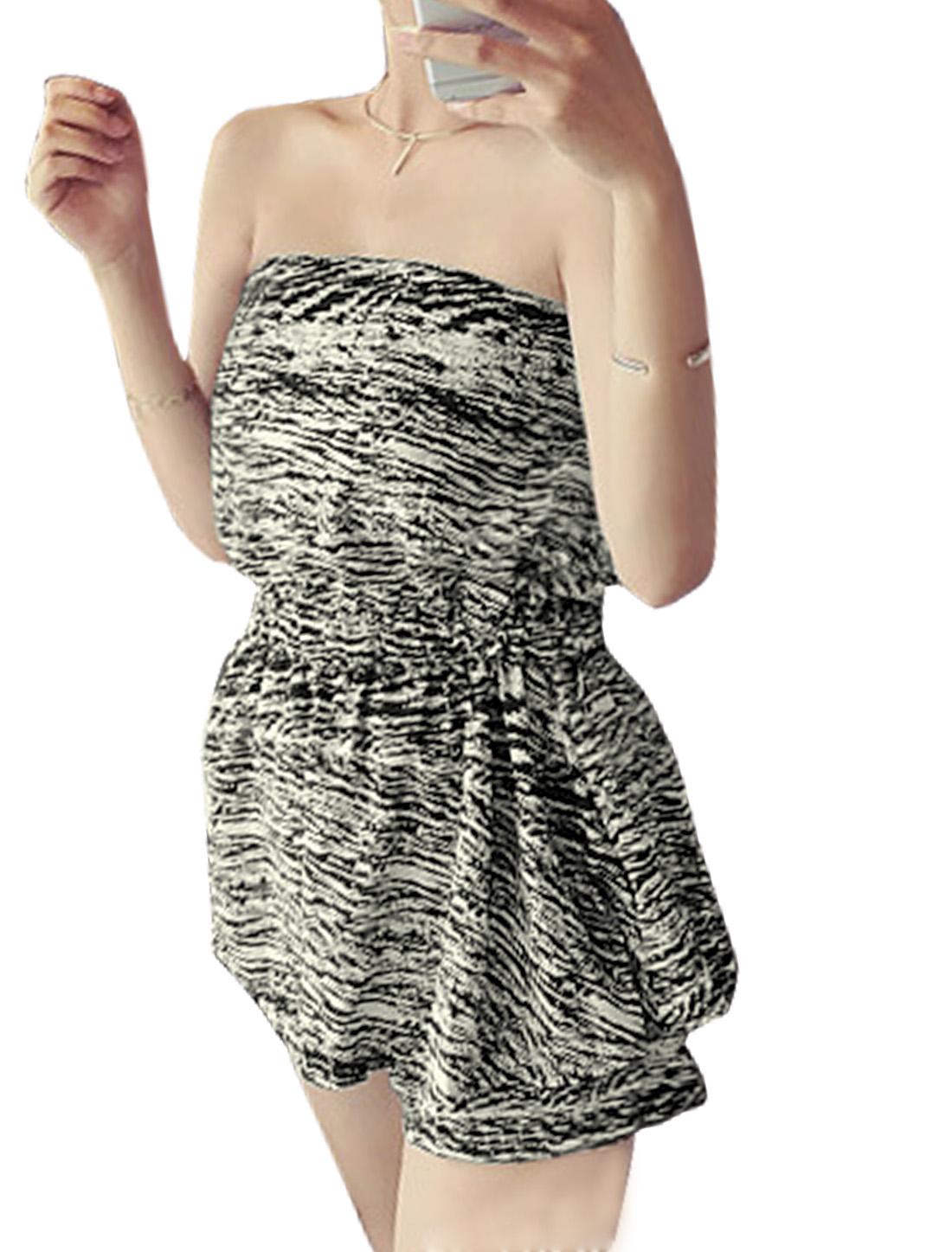 Women Strapless Layered Novelty Prints Leisure Romper Black White XS