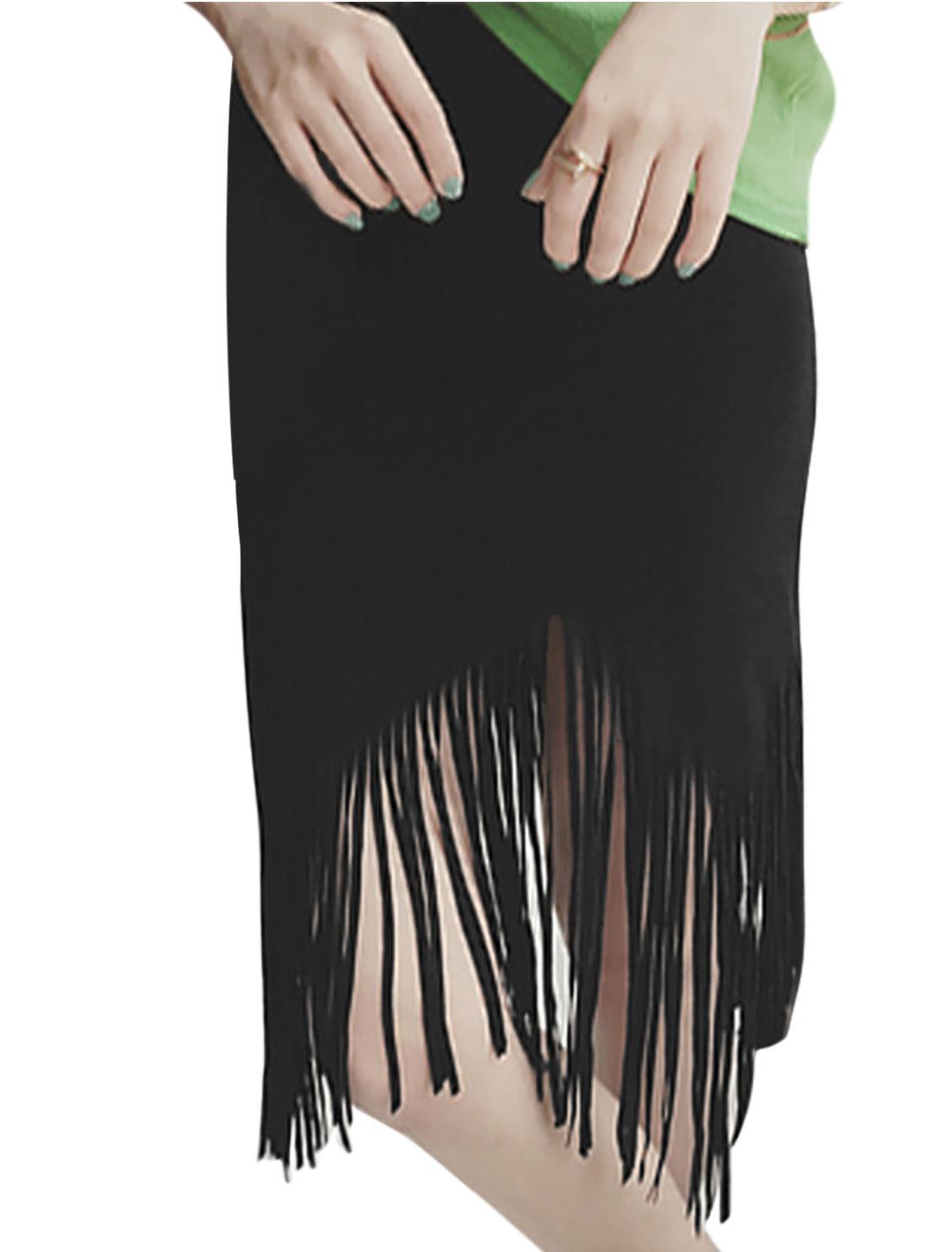 Woman Tassels Asymmetric Hem Elastic Waist Short Skirt Black S